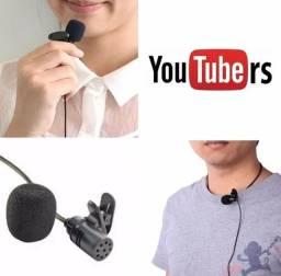 Kit Youtuber Microfone de Lapela +Adaptador P3 P2