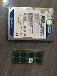 Memoria 4gb e hd 320gb para notebook