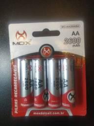 Pilhas Recarregável AA 1.2v 2600mph C/4 Pilhas Mox Original