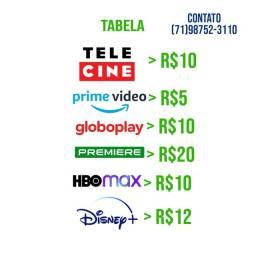 Título do anúncio: telecine, prime video, gllobo, premiere, hbomax, disney plus