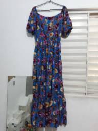 Vestido de viscose moda evangélica longo e curto estampado