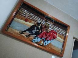 Quadro antigo tapesaria espanhola torada