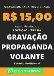 Título do anúncio: Audio para Carro de Som, Moto Som e Bike Som, Gravação de Spot, Vinheta pra Todo Brasil