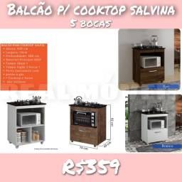 Balcão p/ cooktop salvina 5 bocas balcão p/cooktok-9294994