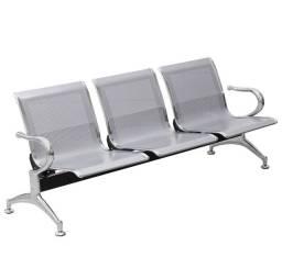 Cadeira Longarina 3 Lugares Cromada Prata