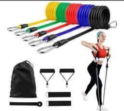 Kit elasticos exercicios academia Novo