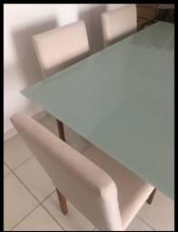 Título do anúncio: Mesa retangular 1,00 X 1,60 vidro e embuia