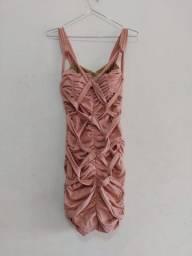 Título do anúncio: Vestido rosa drapeado franzido