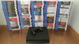 PlayStation 4 Slim 500GB - Semi Novo - com Garantia-Aceitamos PS3 mais volta