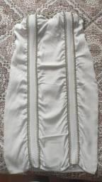 Título do anúncio: Vestido tomara que caia branco com bordado em pérola (usado) Tam P