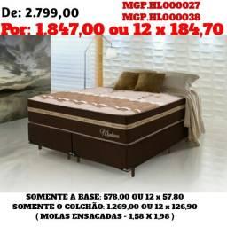 Conjunto Box Mola Ensacada 1,58 Densidade Alta- Cama Box- Colchão + Base
