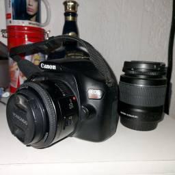 Câmera Canon EOS Rebel T6 + Lente 50mm + Lente 18-55mm + Tripé em alumínio