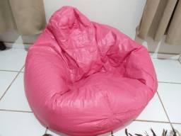 Puff - couro sintético - rosa