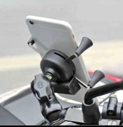 Suporte pra celular pra moto com carregador completo