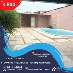 Título do anúncio: Casa Comercial 4qts, Av. Codajás Petrópolis, Piscina