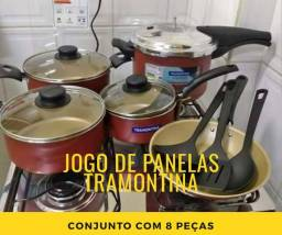 JOGO de PANELAS TRAMONTINA 8 PEÇAS