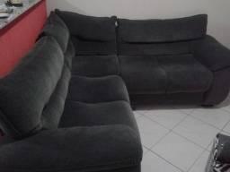 Sofá de canto usado cinza