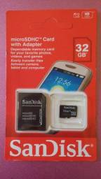 Cartão de memória original 32 Giga, novo lacrado na loja, muito barato, entrega Grátis.