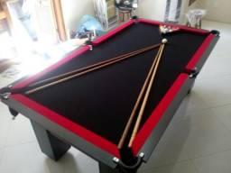 Mesa de Bilhar Cor Preta Tecido Preto e Borda Vermelha Mod. IWVP3396