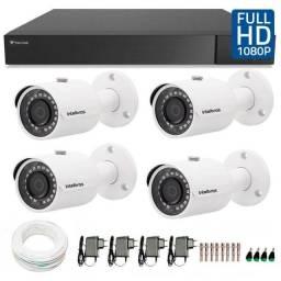 Kit Completo e Instalado 4 Câmeras (CFTV) Full HD 1080 P (acesso Internet)