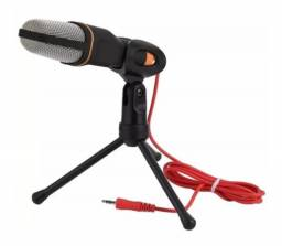 Microfone Condensador Com Tripé Q-888 Omnidirecional Preto