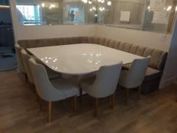 Sala de Jantar Mesa Branca Resina Poltronas Sofá Canto Alemão