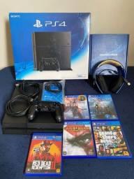 Título do anúncio: PlayStation 4 500GB com headset e 5 jogos