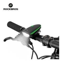Título do anúncio: Farol para bike rockbros com buzina ! Uma farol de bicicleta compacto