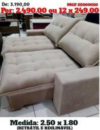 Sofa Retratil e Reclinavel 2,50 em Molas e Suede - Sofa Grande - Sofa Barato