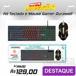 Kit Teclado Mouse Gamer Led Semi-mecânico USB Durawell  DW-300
