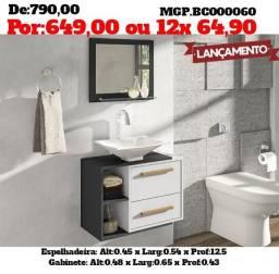 Armario de Banheiro -Kit de Gabinete e Espelhadeira com Cuba ou Pia - Saldão em MS