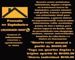 Quartos Suítes e Vagas mobiliados no Espinheiro com taxas inclusas