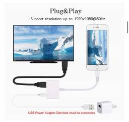 Adaptador Lightning Para Hdmi TV Compativel iPhone E iPad