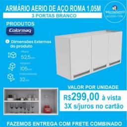 Armário de Cozinha Aéreo Colormaq  Roma 3 Portas em Aço