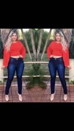 Calças Jeans Na Lycra e Cós Alto