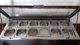 Buffet Balcão de Mesa ou Sobremesa Frio ou Quente Cubas Inox Tampa de Vidro