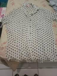 Troco linda blusa de poa Tam 42
