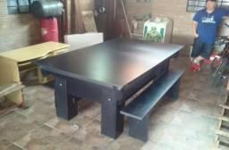 Mesa com 4 Pés Cor Preta Tecido Preto Mod. LWAW6604