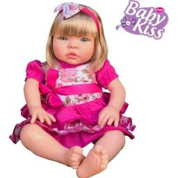 Boneca Bebê Estilo Reborn + Kit Enxoval.