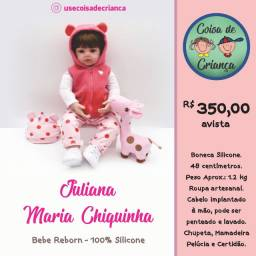Bebê Boneca Reborn Juliana Maria Chiquinha 100% silicone 48 cm