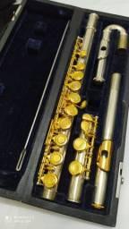 Flauta transversal hoyden HFL-25 c/ bocal curvo prata/dourada