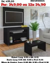 Painel de televisão e Rack com Mesa de Centro- Painel e TV Rack