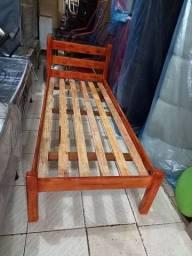 Título do anúncio: Cama madeira solteiro nova 300 sem colchão com colchão 550