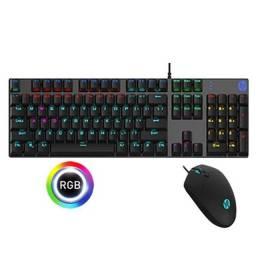 kit teclado e mouse gamer com fio usb membrana com led rgb gm300