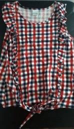 Camiseta feminina xadrez