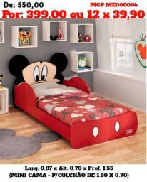 Mini Cama Infantil do Mickey e Minnem - Vermelho e Branco Rosa- Menina e Menino