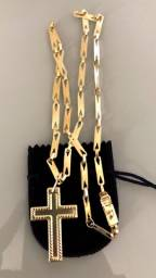 Título do anúncio: Corrente Chapinha de Prata Banhada a Ouro