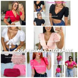 Cropped multiformas preto, branco, vermelho, rosa neon, rose, pink.