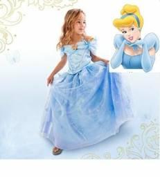 Vestido fantasia infantil Cinderela luxo entrega gratuita em toda baixada