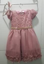 Vestido infantil rosê